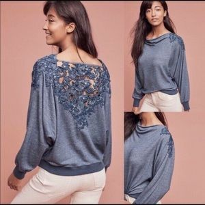 Anthropologie Meadow Rue Blue  Sweatshirt Lace top